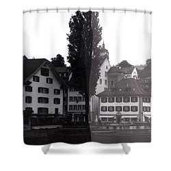 Black Lucerne Shower Curtain by Christian Eberli