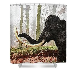 Shower Curtain featuring the digital art Black Mammoth by PixBreak Art