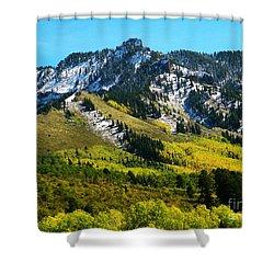 Black Mesa Rocky Peak In Autumn Shower Curtain