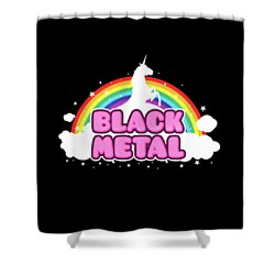 Black Metal Funny Unicorn / Rainbow Mosh Parody Design Shower Curtain
