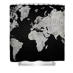 Shower Curtain featuring the digital art Black Metal Industrial World Map by Douglas Pittman