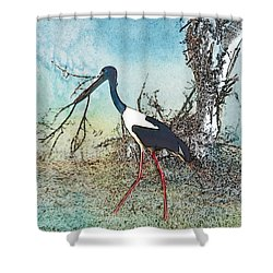 Black Neck Stork  Shower Curtain
