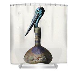 Black Necked Stork Stuffed Inside The Gilded Bottle Shower Curtain