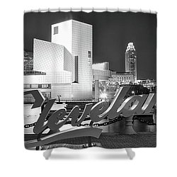 Shower Curtain featuring the photograph Black Pano Night In Cle by Frozen in Time Fine Art Photography