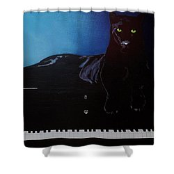 Black Panther And His Piano Shower Curtain