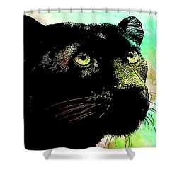 Black Panther Animal Art Shower Curtain