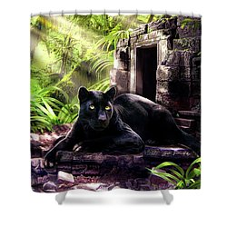 Black Panther Custodian Of Ancient Temple Ruins  Shower Curtain
