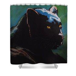 Black Panther Shower Curtain by Maris Sherwood