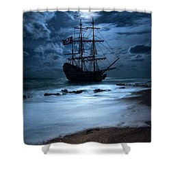 Black Pearl Pirate Ship Landing Under Full Moon Shower Curtain