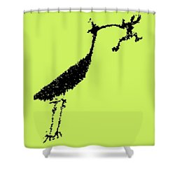 Black Petroglyph Shower Curtain by Melany Sarafis