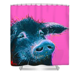 Black Pig Painting On Pink Background Shower Curtain