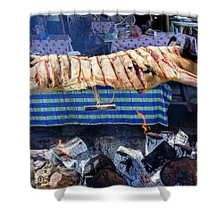 Shower Curtain featuring the photograph Black Pig Spit Roasted In Taiwan by Yali Shi