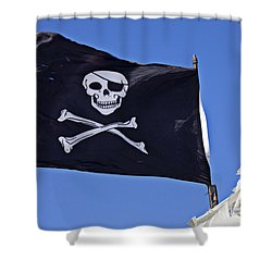Black Pirate Flag  Shower Curtain by Garry Gay