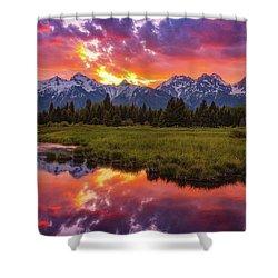 Black Ponds Sunset Shower Curtain
