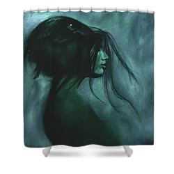 Shower Curtain featuring the painting Black Raven by Ragen Mendenhall