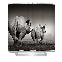 Black Rhino Cow With Calf  Shower Curtain