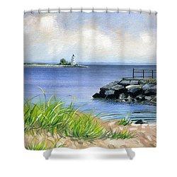 Black Rock Shower Curtain by John Deecken