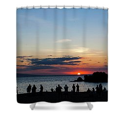 Black Rock Sunset Shower Curtain