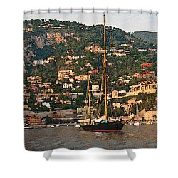 Black Sailboat At Villefranche II Shower Curtain