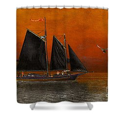 Shower Curtain featuring the photograph Black Sails In The Sunset by Chris Armytage