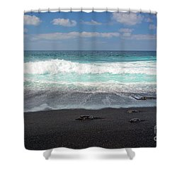 Shower Curtain featuring the photograph Black Sand Beach by Delphimages Photo Creations
