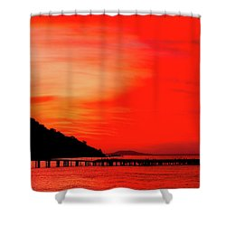 Black Sea Turned Red Shower Curtain by Reksik004