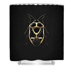 Black Shieldbug With Gold Accents  Shower Curtain