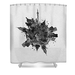 Black Skyround Art Of Moscow, Russia Shower Curtain