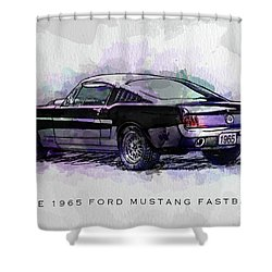 Black Stallion 1965 Ford Mustang Fastback Shower Curtain by Gary Bodnar