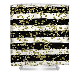 Black Stripes Gold Confetti Shower Curtain
