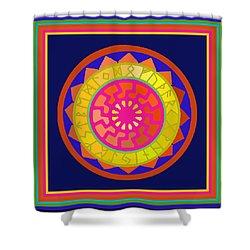 Black Sun Mandala Rune Calendar Shower Curtain
