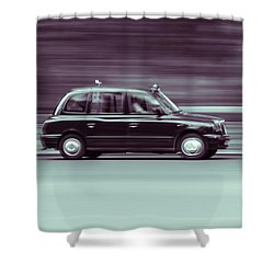 Black Taxi Bw Blur Shower Curtain