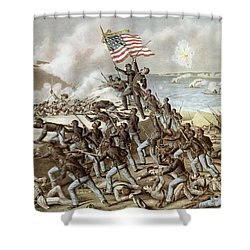 Black Troops Of The Fifty Fourth Massachusetts Regiment During The Assault Of Fort Wagner Shower Curtain by American School