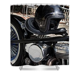 Black Vintage Style Motorcycle With Chrome And Black Helmet Shower Curtain