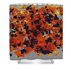 Black Walnut Ink Abstract With Splats Shower Curtain by Tom Janca