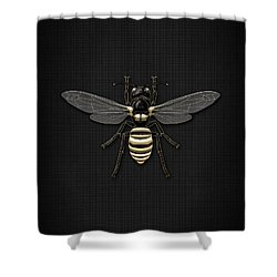 Black Wasp With Gold Accents On Black  Shower Curtain by Serge Averbukh