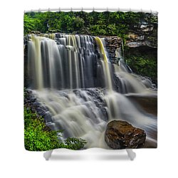 Black Water Falls Shower Curtain