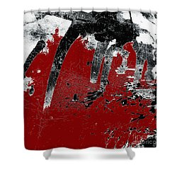 Black White Red Allover I Shower Curtain by Lee Craig