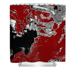 Black White Red Allover  II Shower Curtain by Lee Craig