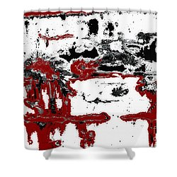 Black White Red Allover  IIi Shower Curtain by Lee Craig