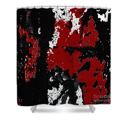 Black White Red Allover  Iv Shower Curtain by Lee Craig