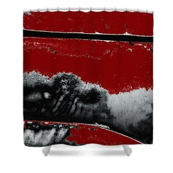 Black White Red Allover  V Shower Curtain by Lee Craig