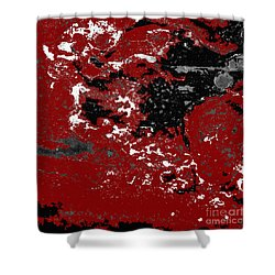 Black White Red Allover  Vi Shower Curtain