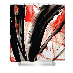 Shower Curtain featuring the painting Black White Red Art - Tango 2 - Sharon Cummings by Sharon Cummings