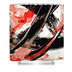 Shower Curtain featuring the painting Black White Red Art - Tango - Sharon Cummings by Sharon Cummings