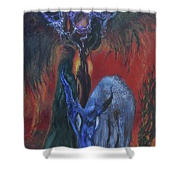 Blackberry Thorn Psychosis Shower Curtain by Christophe Ennis