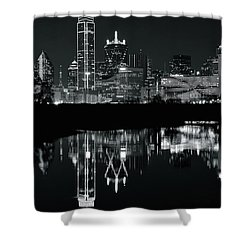 Blackest Night In Big D Shower Curtain by Frozen in Time Fine Art Photography