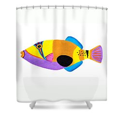 Blackpatch Triggerfish  Shower Curtain by Opas Chotiphantawanon