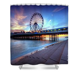 Shower Curtain featuring the photograph Blackpool Pier Sunset by Yhun Suarez