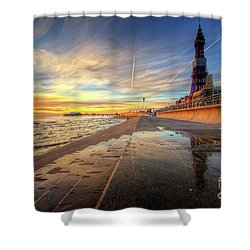 Shower Curtain featuring the photograph Blackpool Sunset by Yhun Suarez